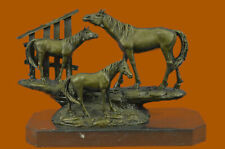 Bronze Rare Thoroughbred Equestrian Art 3 Horses Playing Marble Sculpture BC