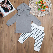 2PCS Kid Baby Boys Outfits Hooded Pants Outfits Clothes Gentleman Suit Set 0-12M