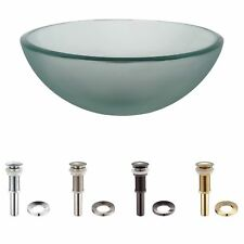 KRAUS 14 Inch Frosted Glass Vessel Sink with Pop-Up Drain