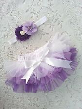 Chiffon all around Ombre Ruffle Bloomer Baby diaper cover headband 0-18 months