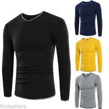 Spring Fashion Hot Velvet Tops Jumper Slim Men's Knitted Sweater Casual V-neck