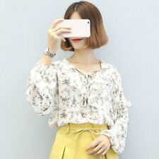 Lady Girl Chiffon Shirt Flouncing Lace Women Blouse Bowknot Front Strap OL