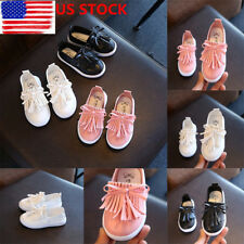 Kid Toddler Girls Casual Soft Flats Tassel Shoes School Oxfords Sandals Loafers