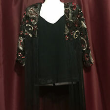 Fringed Kimono Jacket Black or Teal Blue with with Floral/Paisley Print S M L