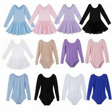 Kids Girls Long Sleeve Leotard Ballet Dance Tutu Dress Costumes Dance Wear