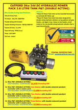 24V DC Double Acting Hydraulic Power Pack 3Kw 3.8Ltr Round Oil Tank