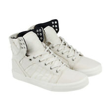 Supra Skytop Mens White Textile High Top Lace Up Sneakers Shoes