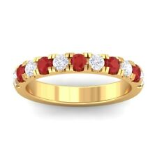 Red Ruby IJ SI Diamonds Half Eternity Wedding Band Women Solid Gold Certified