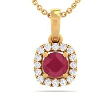 Red Ruby IJ SI Diamonds Cushion Gemstone Pendant Women Solid Gold Certified