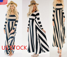 US Women Long Sleeve Striped Long Maxi Dress Round Neck Casual Swing Dress Party
