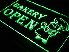 """16""""x12"""" i175-g OPEN Bakery Shop Bread Display Neon Sign"""