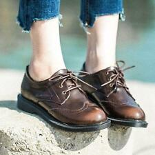 Womens Vintage Leather Lace Up Casual Brogues Oxford Wings Tip Flats Shoes  New