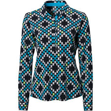 Ep Pro Womens Houndstooth Long Sleeve Polo