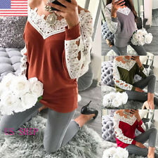 US Womens Lace V-Neck Long Sleeve Blouse Ladies Loose Casual T-Shirt Tops Tee
