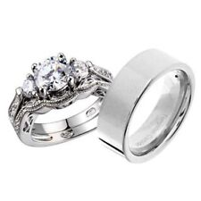 His and Hers Wedding Rings 3 pcs Engagement CZ Sterling Silver Tungsten Set DJ