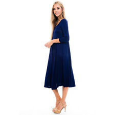 Women's Navy Blue Rayon/Spandex Midi Dress
