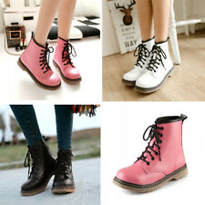 Flats Ladies Lace Up Shoes Mid Calf Round Toe Combat Ankle Warm New Martin Boots
