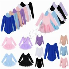 Toddler Girl Long Sleeve Leotard Dress Ballet Dance Tutu Skirt Dancewear Costume