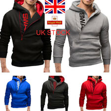 UK Mens Pullover Zipper Hooded Sweater Casual Jacket Letter Print Outwear M-6XL