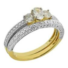 Gold Plated Brass Oval/Round Cubic Zirconia 3 Stones Wedding Ring Set
