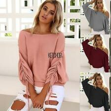 Women Off Shoulder Elastic Ruched Batwing Long Sleeve Solid Knitted KECP