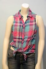 Hollister by Abercrombie Women Plaid Sleeveless Button Down Shirt NwT XS S M L