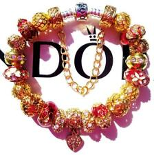PANDORA Sterling Silver CHARM Bracelet RADIANT RED with Gold Plated Beads CC66
