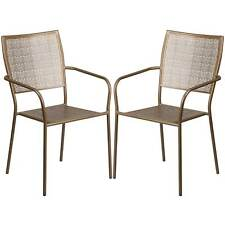 Tiffany Gold Stackable Patio Arm Chairs