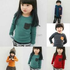 Toddler Baby Long Sleeve T-shirt Tee Pocket Deco Boys Girls Blouse Tops Clothes