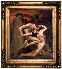 Bouguereau Dante and Virgil in Hell Wood Framed Canvas Print Repro 12x14