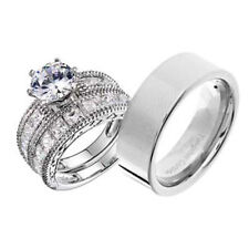 His and Hers Wedding Rings 3 pcs Engagement CZ Sterling Silver Tungsten Set CT