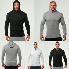 Men Sport Long Sleeve Hoodies Cotton Tight Fit Muscle Basic Tee T-shirt Tops Gym