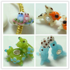 1-50p SILVER MURANO GLASS BEAD LAMPWORK Animal fit 925 European Charm Bracelet z