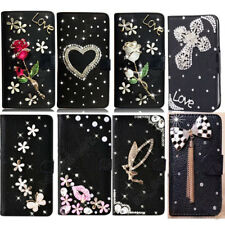 NWT Bling Rhinestone Diamond Flip Wallet Case Leather Cover For iPhone Samsung