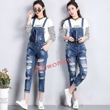 Hot Fashion Womens Ripped Denim Suspender Pants Rompers Jeans Jumpsuits Trousers