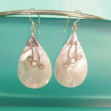 """1 3/4"""" Mother of Pearl Shell Pure 925 Bali Sterling Silver Handmade Drop Earring"""