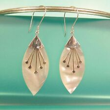 "1 1/2"" Mother of Pearl Shell Pure 925 Bali Sterling Silver Handmade Drop Earring"