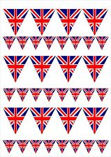 Great Britain Union Jack Flag Bunting Edible Wafer Paper/Icing Cake Topper