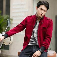 Mens Stand Collar Korean Coat Slim Fit Overcaot Fashion Jacket Zip Up Tops Size