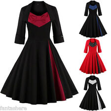 Plus Size Womens Vintage 50s Rockabilly Retro Swing Housewife Party Dress Gown