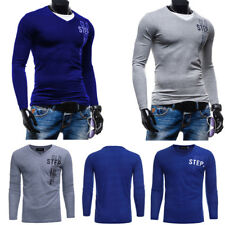 Mens Long Sleeve V Neck Tops Slim Casual Muscle Blouse Fitted Shirt Pullover Tee