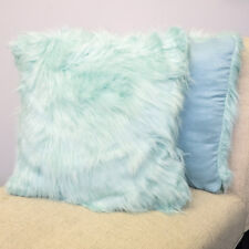 "Mongolian Faux Fur Long Hair Decorative Pillow Pair (18""x18"") Assorted Colors -"