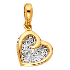 14k Two-tone Gold Fancy Heart Pendant and Yellow Gold Snail Chain
