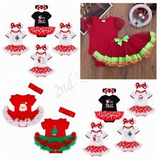1st Xmas Newborn Baby Girls Romper Jumpsuit Dress Headband Clothes Outfits Set
