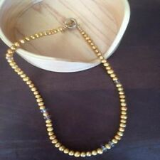 Gold Freshwater Pearl Necklace with Gold Crystals Bridal Wedding Formal