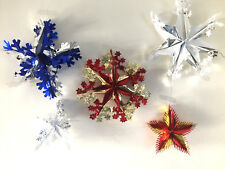 CHRISTMAS XMAS HANGING PULL OUT METALLIC FOIL WALL,CEILING,DOOR SNOWFLAKES,STARS