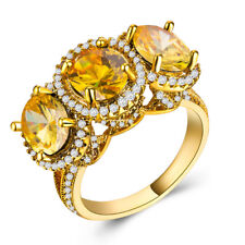 18 K Yellow Gold Plated Gorgeous Jewelry Yellow Topaz Wedding Ring Size 6-10