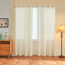 Subrtex 2 Panels Faux Silk Semi-Sheer Window Elegance Curtains and Solid Grommet