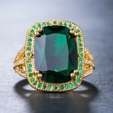 Women Fashion Jewelry 18 K Gold Plated Green Emerald Cocktail Ring Size 6-10