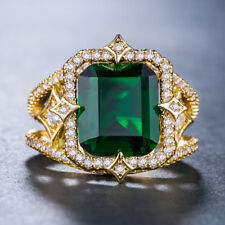 18k Yellow Gold Plated Gorgeous Jewelry Green Emerald Wedding Ring Size 6-10